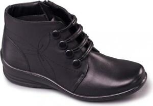Padders-TANYA-Ladies-Womens-Leather-E-EE-Wide-Fit-Side-Zip-Ankle-Boots-Black