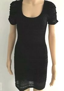 Forever-21-Black-Lace-Mesh-Dress-With-Ruffled-Sleeve-Size-M