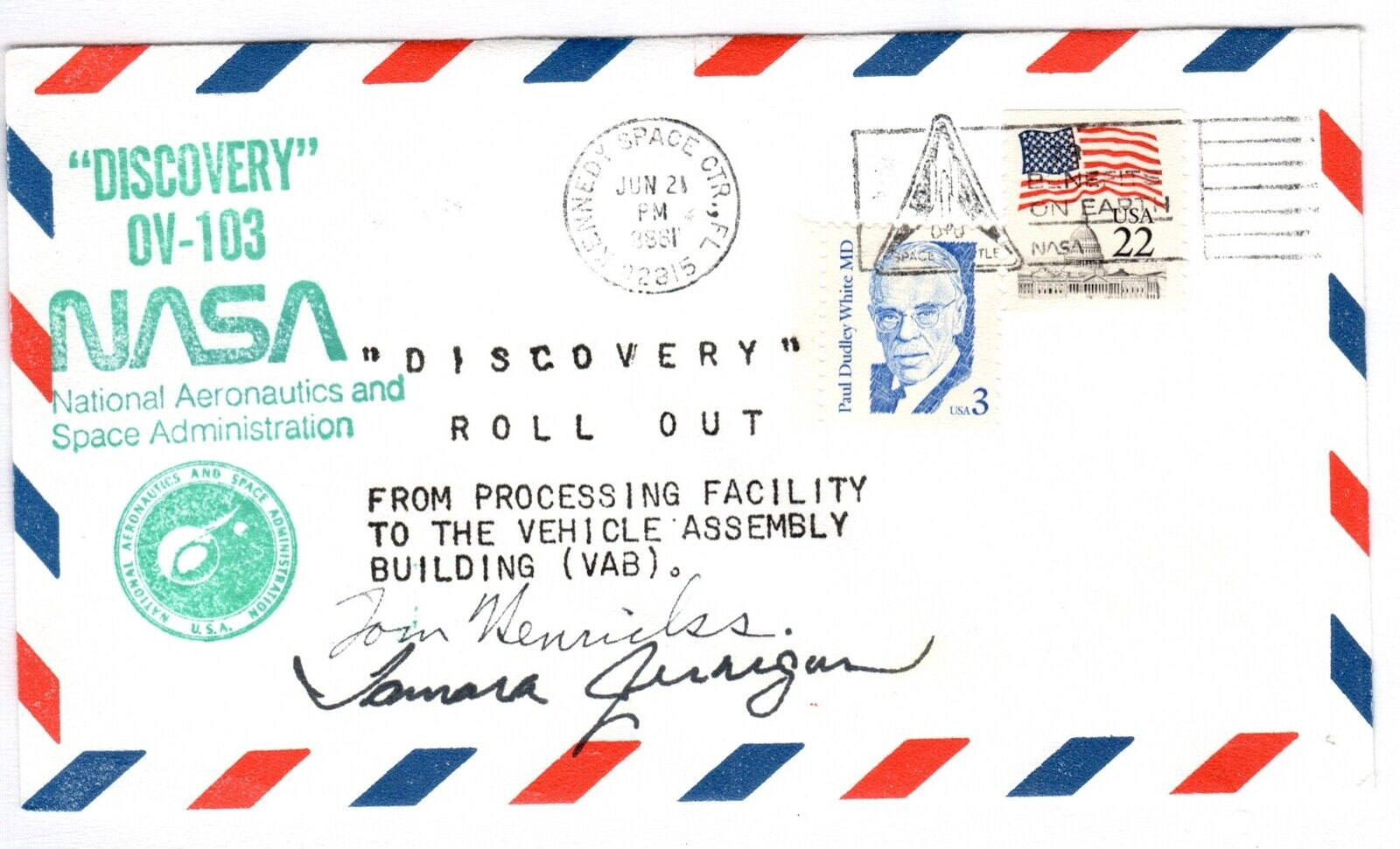 s l1600 - NASA Astronauts Tamara Jernigan & Tom Henricks autographs on OV-103 cover
