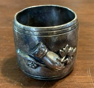 Antique-Silverplate-Napkin-Ring-Hand-Extending-Olive-Branch