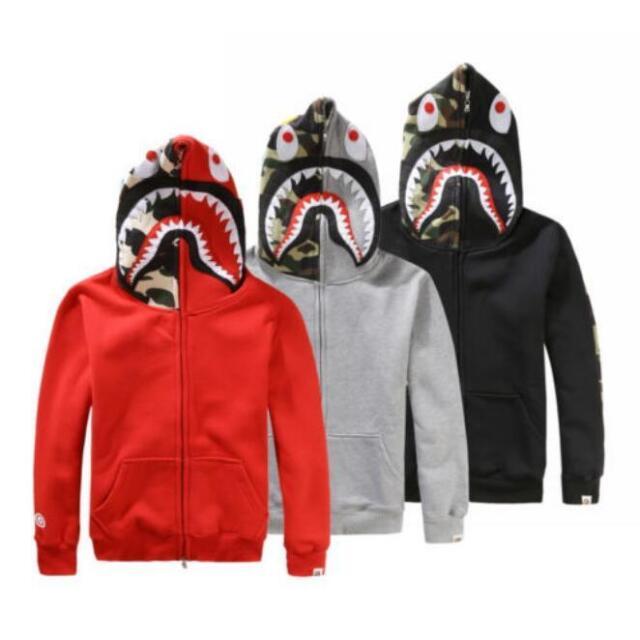 be1876e593065 Bape A Bathing ape Jacket SHARK Head Camo FULL ZIP Camouflage Hoodie Coat  Sweate