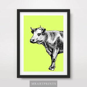 Details about GREEN COW ART PRINT POSTER Farm Animals Colour Color Bright  Decor Illustration