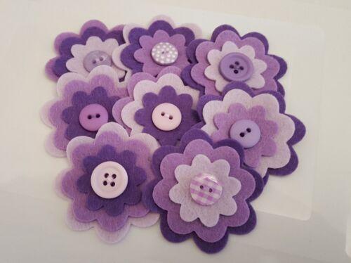 x 8 Felt Flower Embellishments.Die cuts