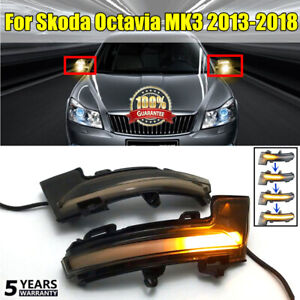 2x-para-SKODA-OCTAVIA-Mk3-5E-13-18-Espejo-dinamico-indicador-de-luz-LED-de-senal-de-vuelta