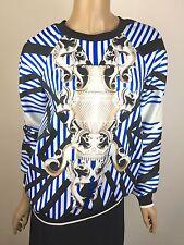 Clover Canyon New Blue White Black Sweatshirt Top Sz S NWT $215 Long Sleeve