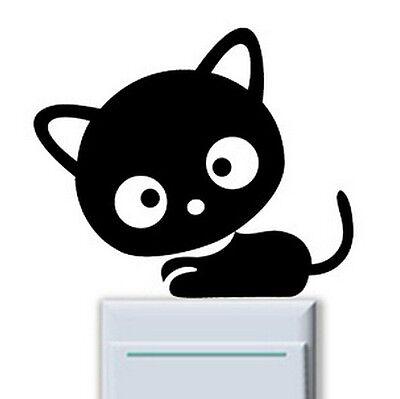 FD839 Head Big Cat Kitten Light Switch Funny Wall Decal Vinyl Stickers DIY ~1pc~