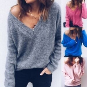 d3e25ddb7fcc Women Sexy Slim Knitted V-Neck Cashmere Long Sleeve Jumper Pullover ...