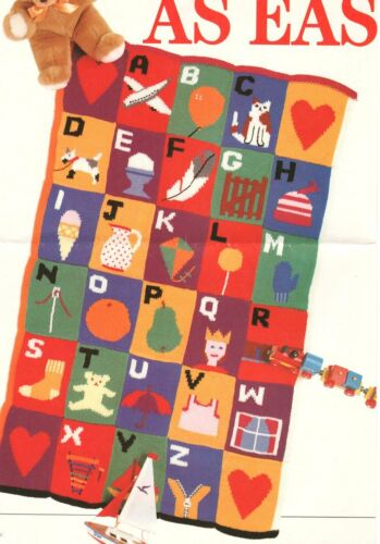 "ABC Alphabet motif carrés intarsia baby blanket 50 /""x 32/"" DK Motif Tricot"