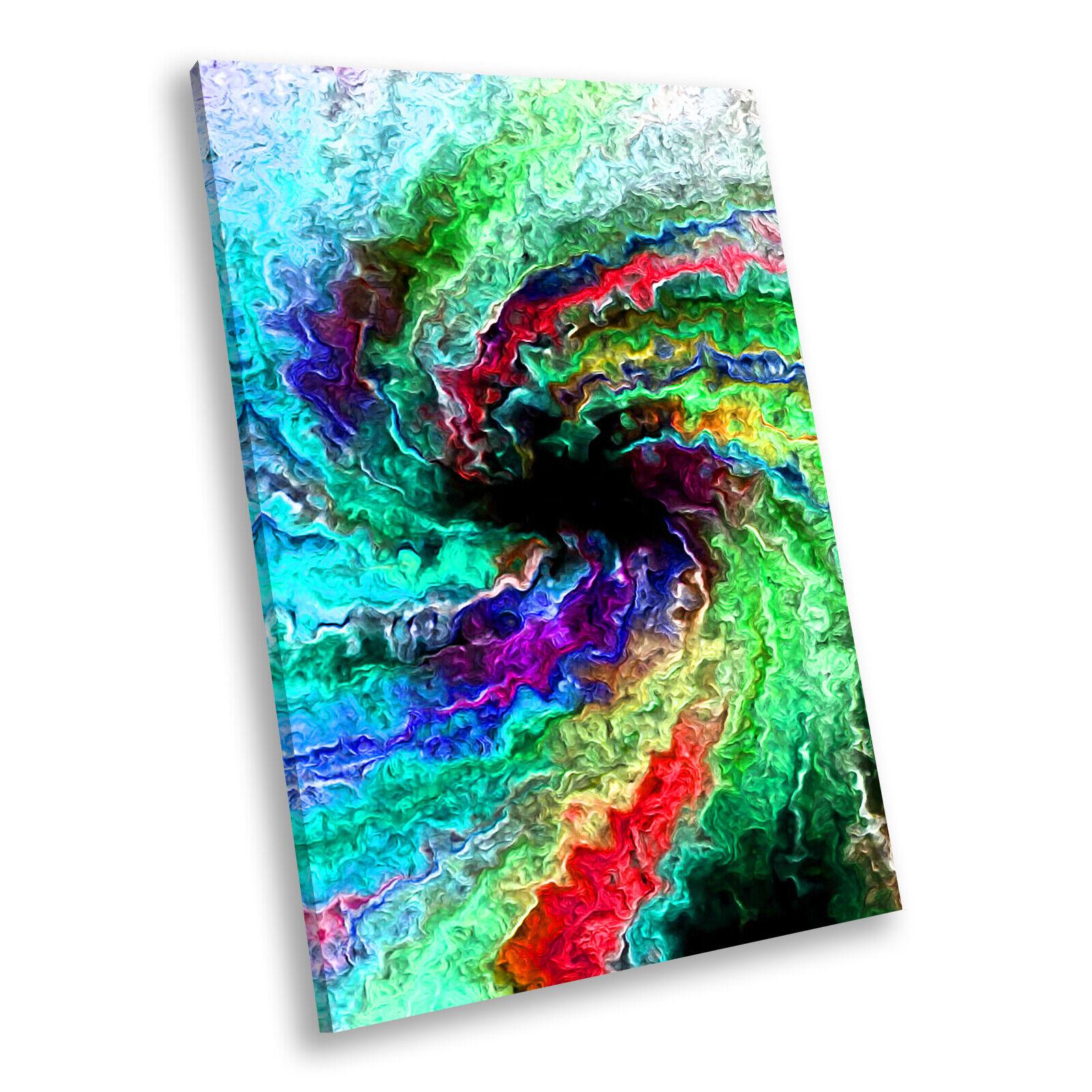 Grün Blau Colourful  Portrait Abstract Canvas Wall Art Large Picture Prints