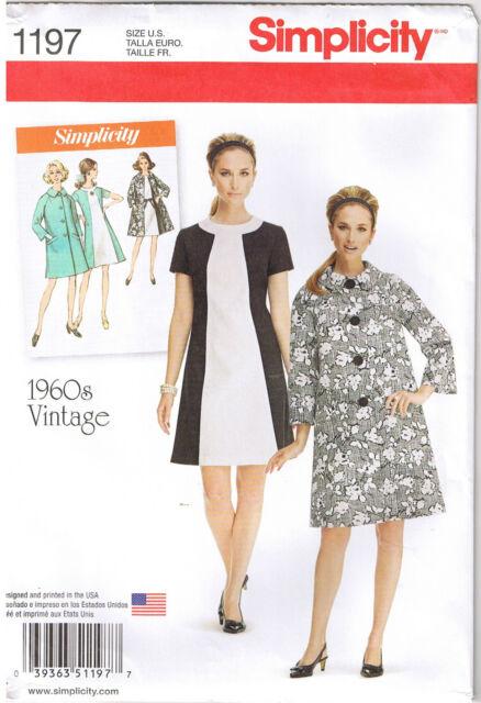 simplicity 1197 Sewing Pattern 6-14 Retro Vintage 60s Sheath Shift ...