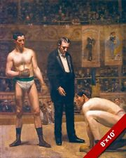 TAKING THE COUNT VINTAGE BOXING FIGHT OIL PAINTING ART REAL CANVAS GICLEEPRINT