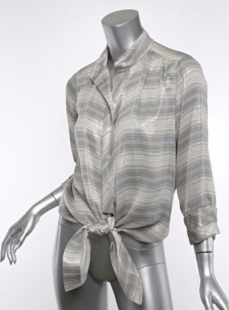 MARC JACOBS Womens Beige Metallic Striped Button-Down Tie Top Blouse Shirt 4 NWT