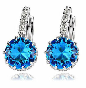 Image Is Loading White Gold Plated Blue Stone Drop Earrings Wedding
