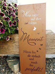 Spruchtafel Perfekte Moment Garten Schild Metall Deko Rost Edelrost