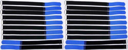 20 Klett Kabelbinder 300 x 20 mm blau Kabelklettband Kabelklett Klettband m Öse