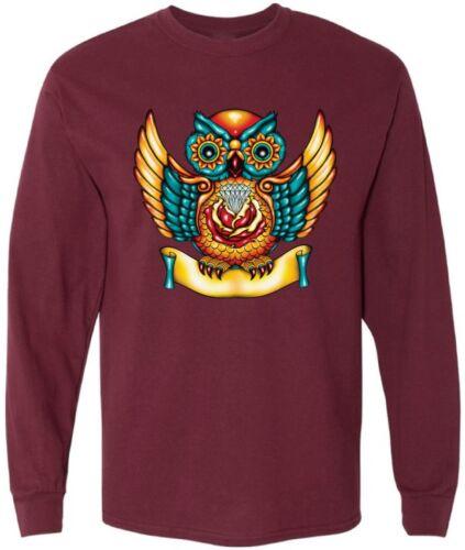 Sugar Skull Owl Men/'s  Long Sleeve Shirts Tops Day of the Dead