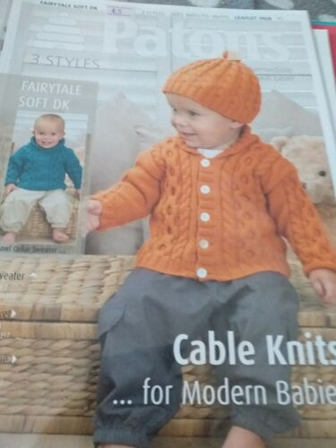 Patons  baby  DK   knitting pattern cable knits 3 styles 3928