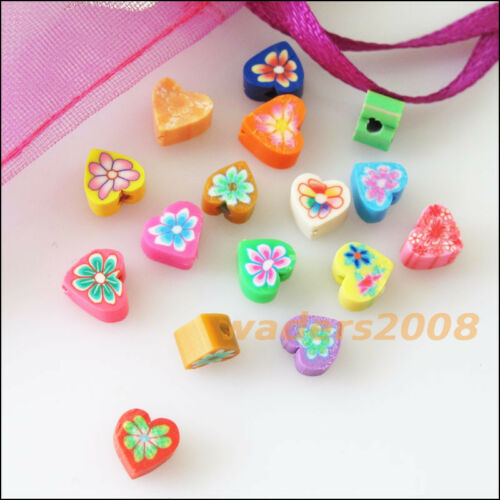 60 New Charms Handmade Polymer Fimo Clay Heart Flat Spacer Beads Mixed 6mm