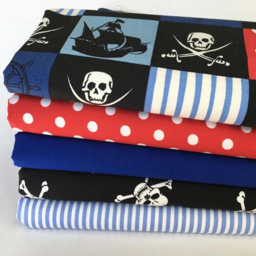 Bundle 5 fat quarters pirate skulls crossbones stripes /& spots  100/% cotton