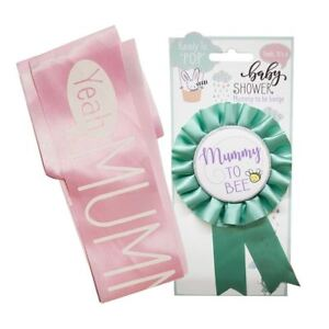 Baby-Shower-Party-Bundle-Set-of-2-039-Mummy-To-Be-039-Satin-Sash-Rosette-Badge