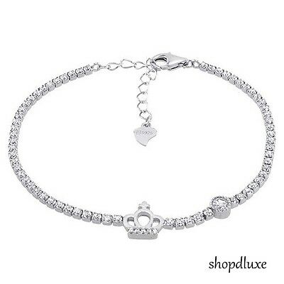 WOMEN'S ROUND CUT CLEAR CZ .925 STERLING SILVER CROWN TENNIS BRACELET