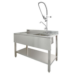 Commercial Sink Catering Kitchen LH Drainer 1.0 Bowl & Pre-Rinse ...