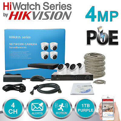 4TB WD Purple HDD Hikvision 16 Channel 6MP IP Network NVR CCTV Recorder H.264 NVR-216M-A//8P PoE ONVIF HiWatch Series