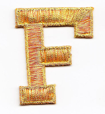 """LETTERS-GOLD METALLIC 1 3//4/"""" LETTER /""""R/"""" Iron On Embroidered Applique"""