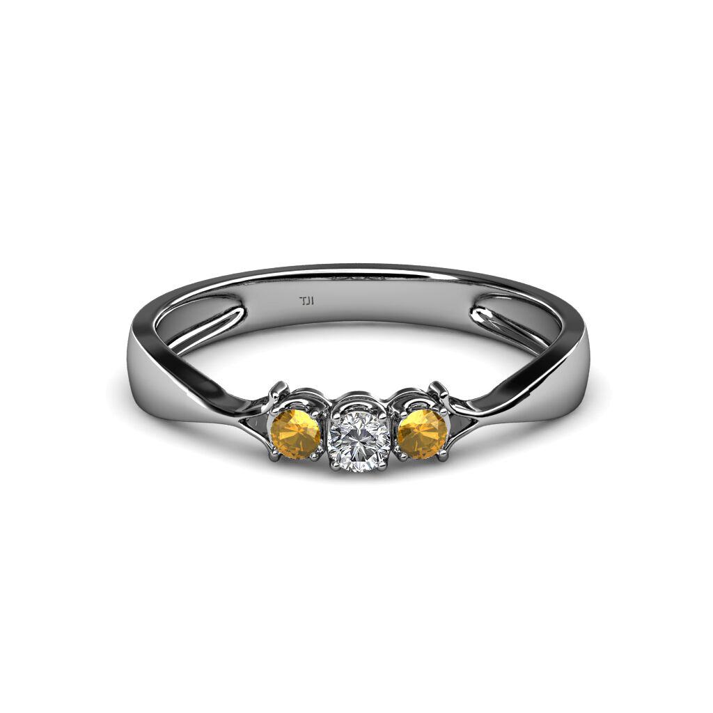 Diamond and Citrine Three Stone Ring 0.13 cttw in 14K gold JP 34592