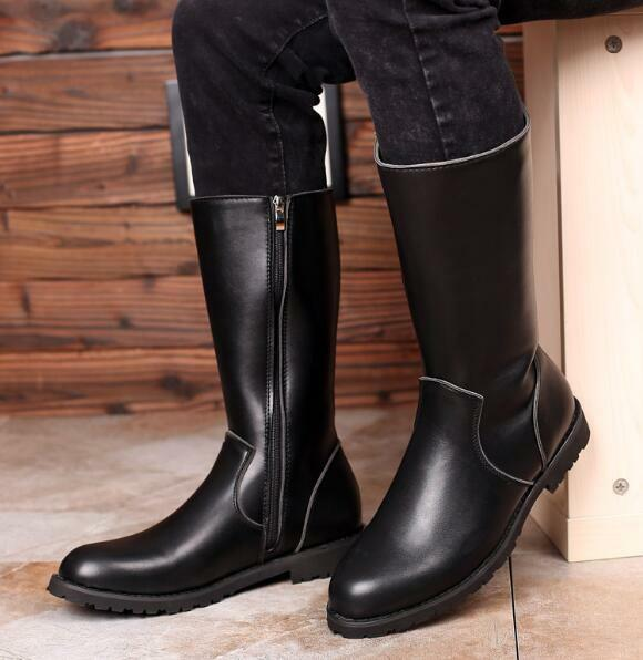 Mens Knee high Military Riding Waterproof Equestrian Zip Dress Formal Boots new