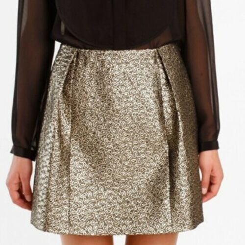 Tibi Gold Metallic Paisley Mini Skirt