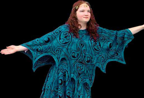 Celtic Dragon Faery Wings Poncho Tunic Quality Costume Rayon Print Teal One size