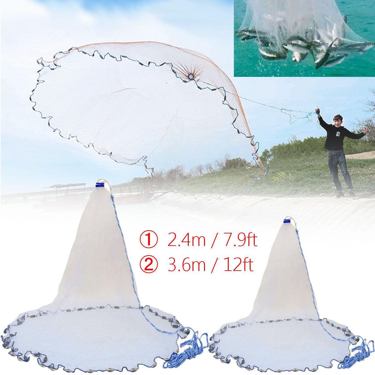 Nylon 12 7.9ft Mono Drawstring Cast Net Spread Fishing Live Bait Net Hand Cast