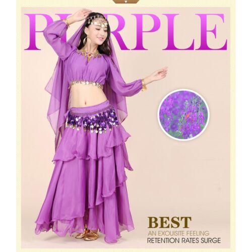 Belly Dance Costume 4 pec Set Long Sleeve Top /& Skirt /& Belt /& Head Veil