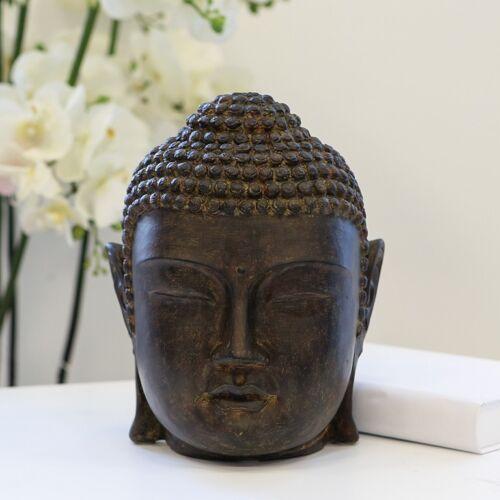 24 cm NEU Design Buddhakopf Casablanca dunkelbraun Buddhismus Meditation Deko H
