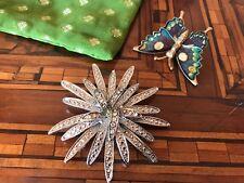 Lot Silver Flower & Butterfly Pins 2 Spille Fiore Argentato & Farfalla Vintage