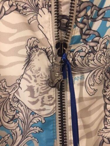 50 Blouson et Jeans It chaîne et 40 Uk bleu gris Versace imprimé aviateur baroque UTfnOnxwBq