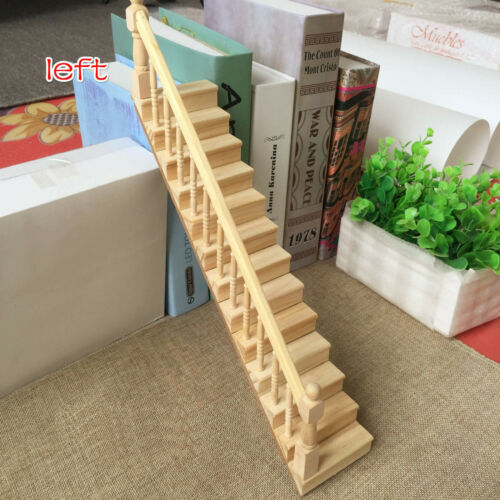 Dollhouse Miniature Furniture Straight Staircase Left Handrail Stair Step 1:12
