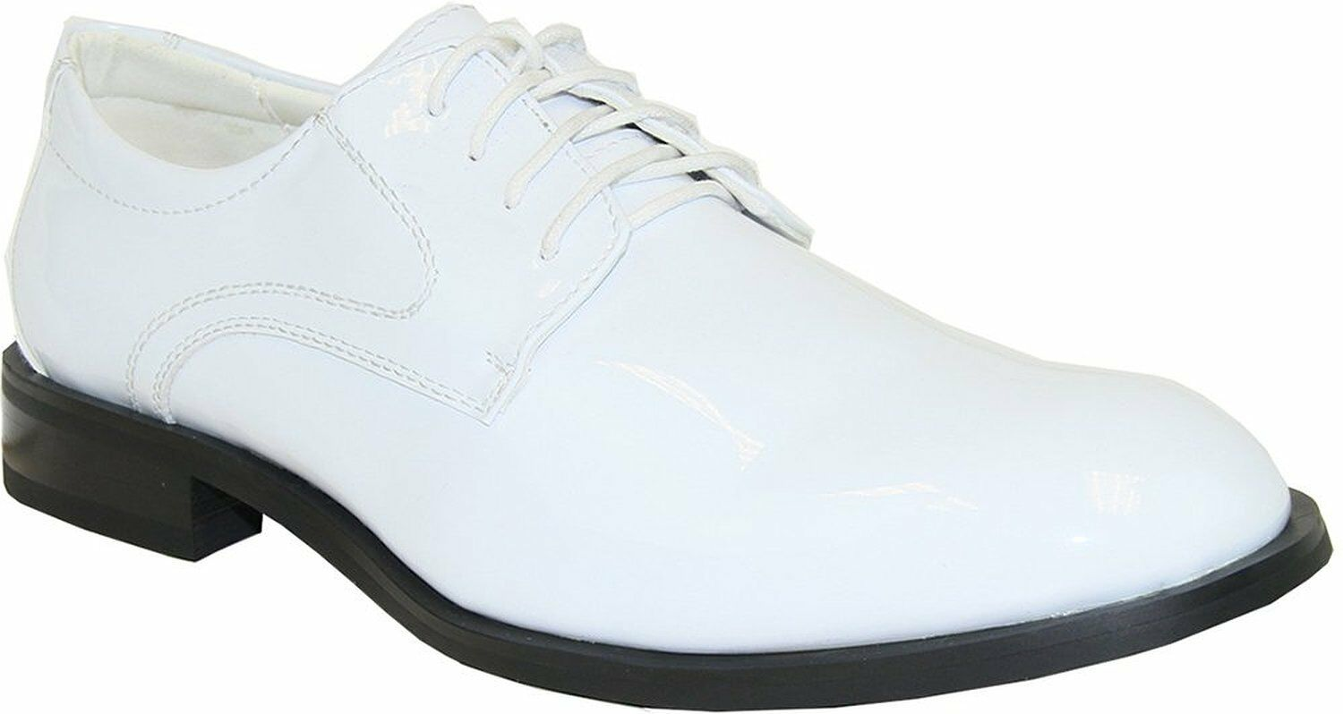 Tab Men Formal Dress shoes Tuxedo White Patent Lace Up Oxford Wrinkle Free 15M