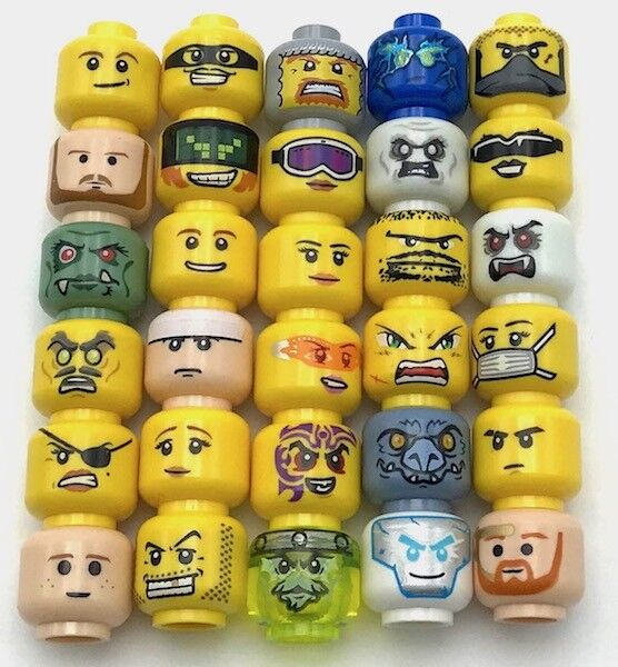 LEGO 15  Heads Head For Minifigure Figure Girl Female Boy Man Male