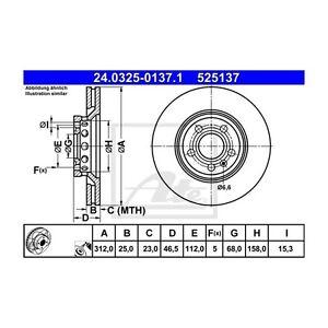 2-St-ATE-24-0325-0137-1-Bremsscheibe-Power-Disc-fuer-Audi-A4-Avant-A4-A6