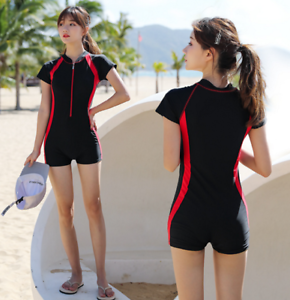 Women-Swimwear-Beach-Jumpsuit-Suit-One-Piece-Bikini-Short-Sleeve-Surfing-Diving