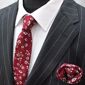 Hommes Cravate & Mouchoir Set Slim Rouge Avec Blanc Floral Qualité Coton Mtc13-afficher Le Titre D'origine