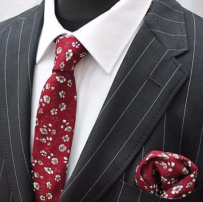 Serio Uomo Cravatta & Fazzoletto Set Rosso Slim Con Qualità Floreale Bianco Cotone Mtc13-mostra Il Titolo Originale Avere Una Lunga Posizione Storica