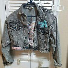 VTG 80s LA GEAR Acid Wash Graffiti DENIM Crop Jean Jacket Blue Buttons Medium M
