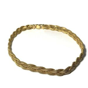 VINTAGE-Signed-NAPIER-Braided-Gold-Mesh-NECKLACE-Choker-15-034