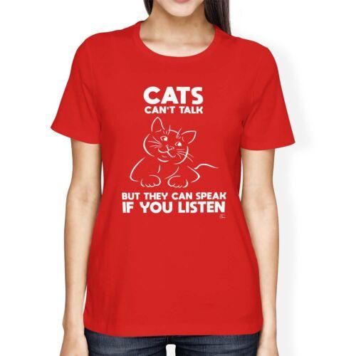 1Tee Bottines Femme Coupe Ample chats ne peut pas parler mais ils peuvent parler si vous écoutez T-Shirt