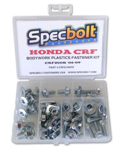 Honda CRF250R Full Bodywork /& Plastics Body Bolt Kit /'06-/'09 Specbolt CRF