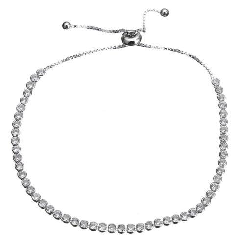 Sólido 925 Plata Esterlina Pulsera de tenis-espumoso Strand-CZ-deslizante 4.7g-2.5mm