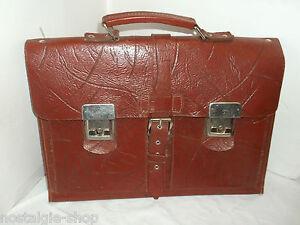 b2fd73f9a122b Das Bild wird geladen Alte-Aktentasche-Ranzen-Ledertasche-Schultasche -Tasche-mit-Schluessel-